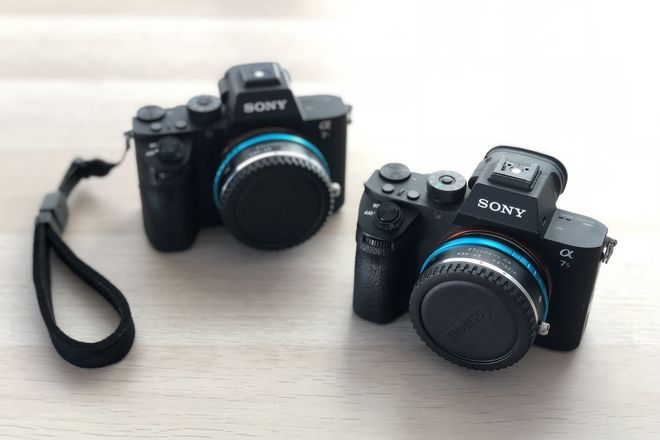 Two Sony Alpha a7S II Cameras w/ Vizalex Canon EF Adapters