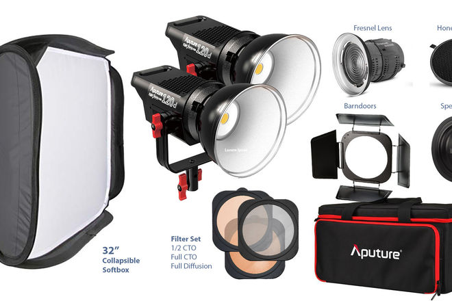 2X Aputure Lightstorm 120D + FULL ACCESSORIES