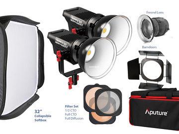 2X Aputure Lightstorm 120D + FULL ACCESSORIES