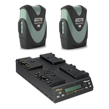 (2) Anton Bauer Digital G90 Gold Mount Batteries + Charger