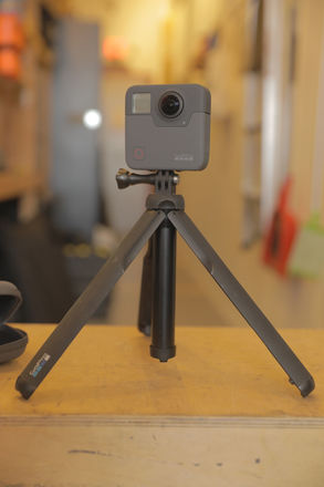 GoPro Fusion with hand / table tripod