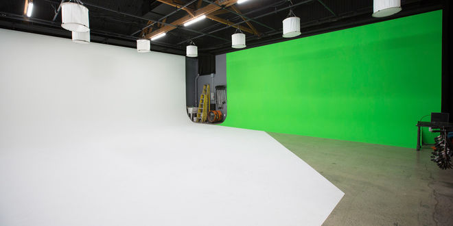 2500 square foot sound stage (White Cyc/ Green Screen)