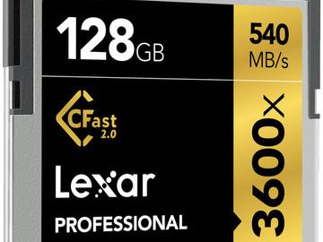 Rent: 4x Lexar 128GB Professional 3600x CFast 2.0 Memory Card