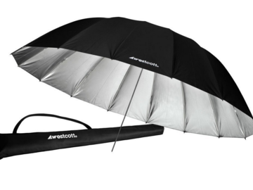 Rent: 7-Foot Silver with Black Cover Parabolic Umbrella