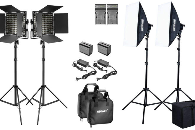 2 x LED Panel + 2 x Softbox Lighting Kit