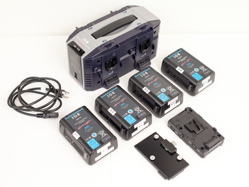 Rent: 4x IDX Endura High-Load V-Lock Batteries & 4-Channel Charger