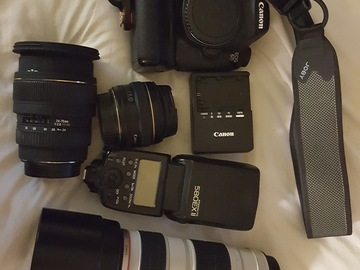 Rent: Canon 6d three lens, 4 batteries, lights, 32 GB card and bag