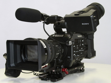 Sony FS7 with rear attachment and lens