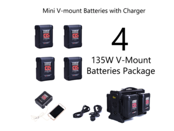 Rent: (4) Rolux 135W V-Mount Mini Batteries Package