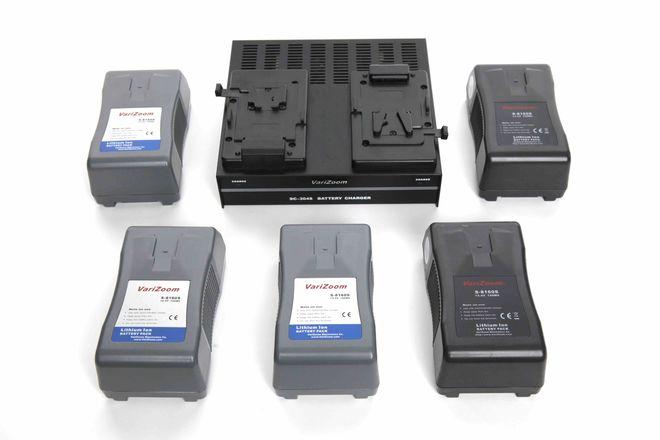 VARIZOOM 5X 190WH V-Lock Batteries KIT W/ Quad Charger