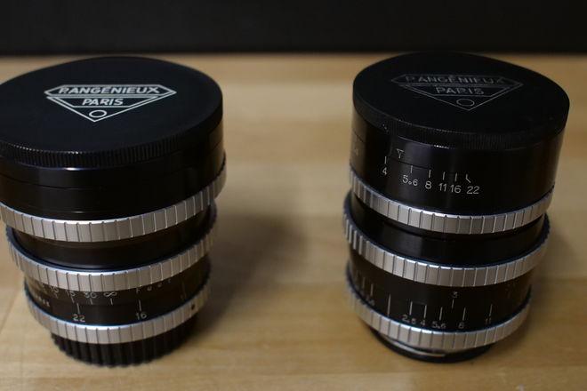 Two Angenieux Retrofocus Exakta Mount Prime Lenses