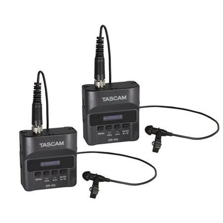(2) Tascam DR-10L Digital Audio Recorder with Lavalier Mic