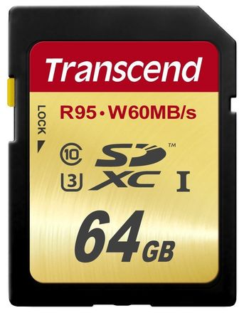 Transcend 64 GB High Speed 10 UHS-3 Flash Memory Card 95/60