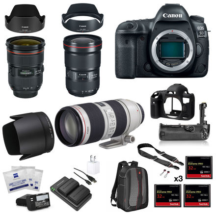 Canon EOS 5D Mark IV Package with 3 Lenses