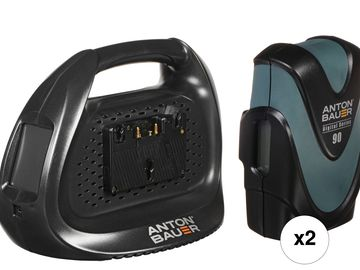 2x Anton Bauer Digital 90 Gold Mount Battery with Charger