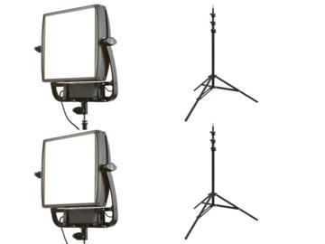 (2x) Litepanels Astra Bi-Color LED Panel w/ Light Stands