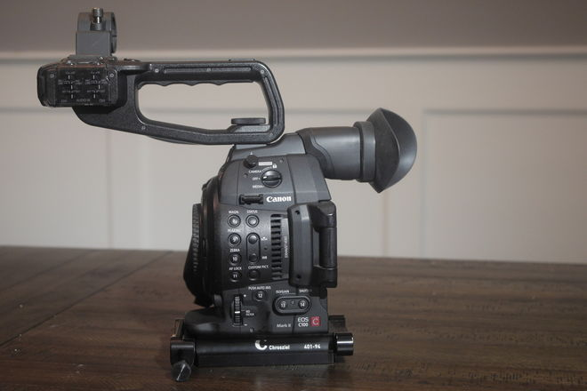 Canon EOS C100 Mark II with batteries