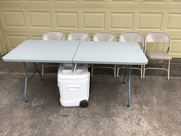 5 chairs, folding table and cooler