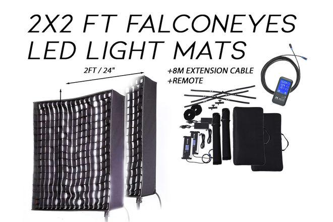 2x 150W Bi-Color, Dimmable, Flex 2x2ft LED Light DMX + Stand