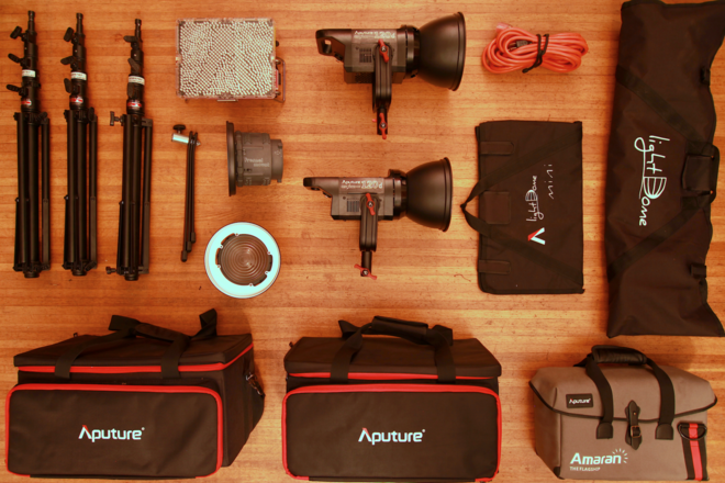 Aputure 3-Point Kit - 2x LS C120d, 1x Tri-8c, Softboxes, etc