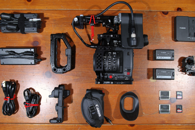 Canon EOS C200 w/ multiple cards/batteries, cage, etc.