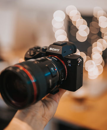 Sony a7 III with memory card and bag