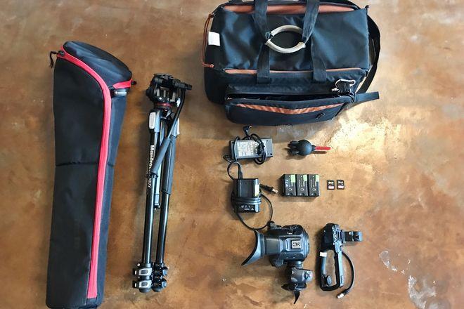 Canon c100MKII, 3x Batteries, 2x 128GB SDs, Manfrotto Tripod