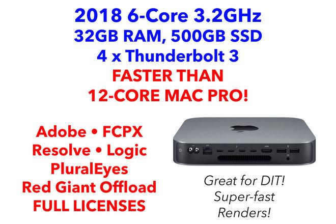 Apple Mac Mini 2018 6-Core i7 w/ 32GB RAM, Editing Apps