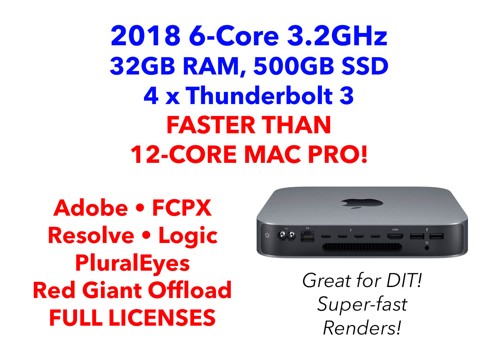 Rent a Apple Mac Mini 2018 6-Core i7 w/ 32GB RAM, Editing Apps