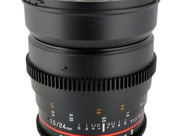 Rent: Rokinon Cinema Lenses 24mm, 35mm, 85mm.