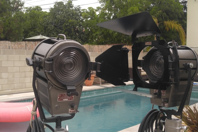 2 Mole Richardson 2K's Baby Junior fresnel  w/ Stands
