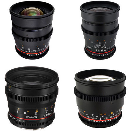 Rokinon Cine Lenses EF 14, 24, 35, 85mm w/ E-Mount Adapter