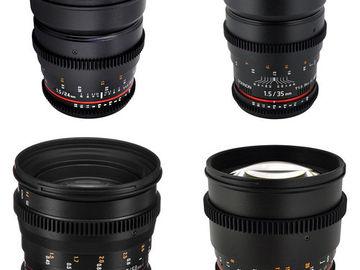Rokinon Cine Lenses EF 14, 24, 35, 85mm w/ E-Mount Adapter