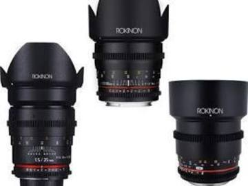 Rent: Rokinon Cine DS lenses set of 24mm, 50mm, 85mm