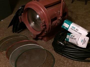 Rent: Mole Richardson 2k Jr w/ scrims, barn doors, and spare bulb