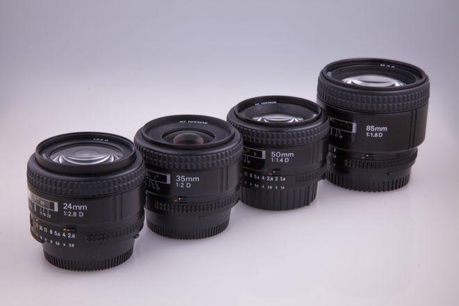 Nikon Prime Lens Set 24, 35, 50, 85mm D Series