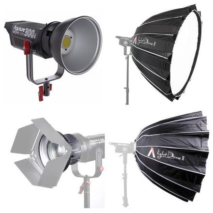 "Aputure 300d + Light Dome II (36"") + Fresnel Lens"