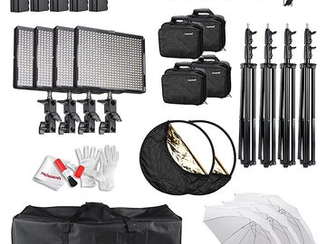 Rent: Interview Kit -- 4 pc LED Video Studio Kit (Adjustable LEDs)
