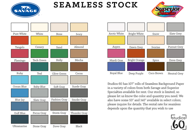 Seamless Paper Backrops All Colors