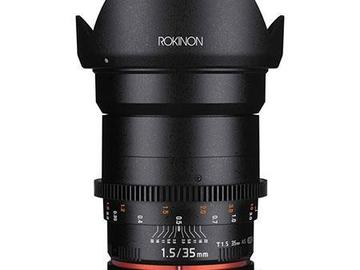 Rent: Rokinon 35mm T1.5 Cine VDSLR Wide-Angle Lens for Canon EF Mo