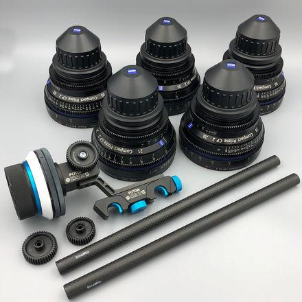Zeiss Primes CP.2 5 Lens Set, PL Mount with Follow Focus