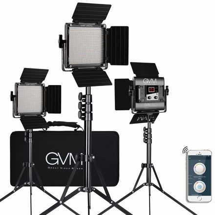 GVM 3 Pack LED Video Lighting Kits with APP Control,