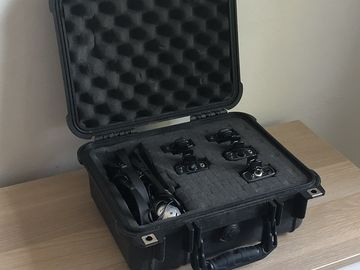 1 Comtek Transmitter, 4 Receivers w/ Headphones