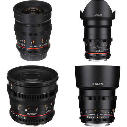Rokinon Cine Lenses EF 24, 35, 50, 85mm w/ E-Mount Adapt