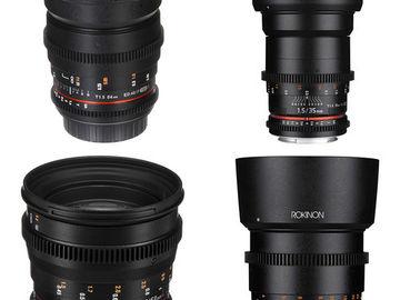 Rokinon Cine Lenses EF 24, 35, 50, 85mm w/ E-Mount Adapt