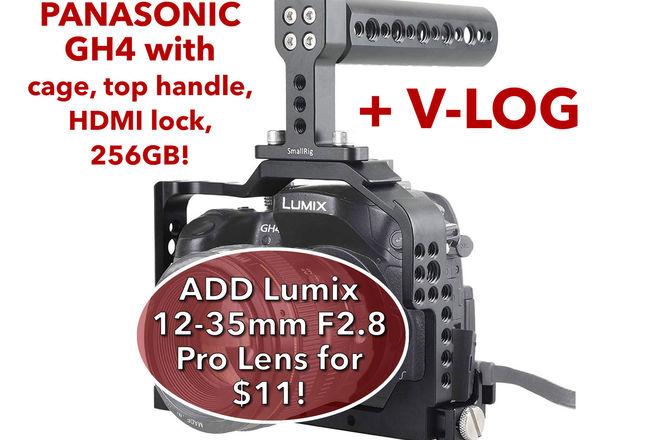 Panasonic Lumix DMC-GH4 w/ V-Log, 256GB SDXC, 2 Batteries B