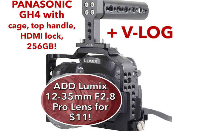 Panasonic Lumix DMC-GH4 w/ V-Log, 256GB SDXC, 2 Batteries