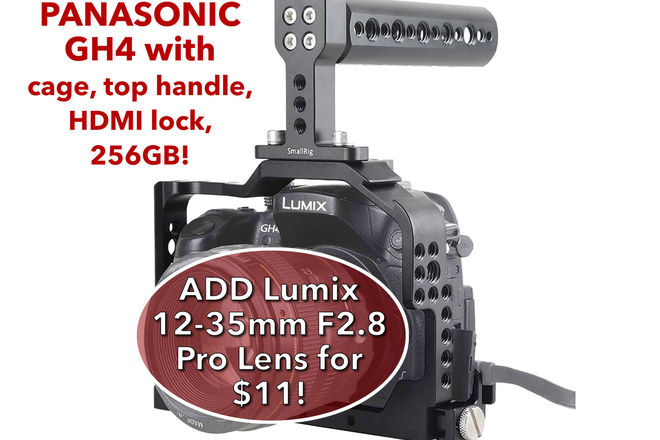 Panasonic Lumix DMC-GH4 w/ 256GB SDXC, 2 Batteries, Cage