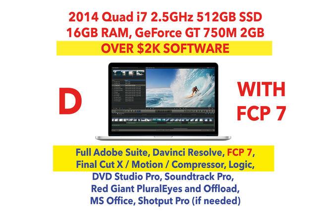 "2014 Apple MacBook Pro 15"" i7 w/ FCP 7/X, Premiere, SSD (D)"