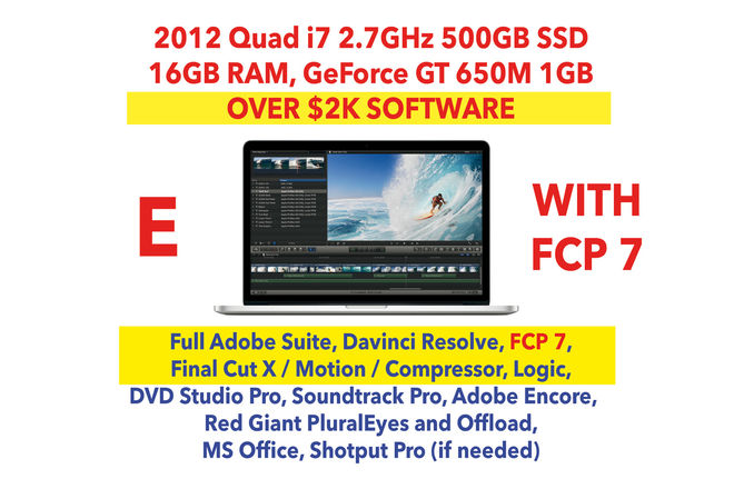 "2012 Apple MacBook Pro 15"" i7 w/ FCP 7/X, Adobe, SSD (E)"